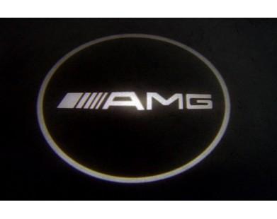 Подсветка дверей с логотипом Mercedes AMG S-class (2 шт., в штатные места)