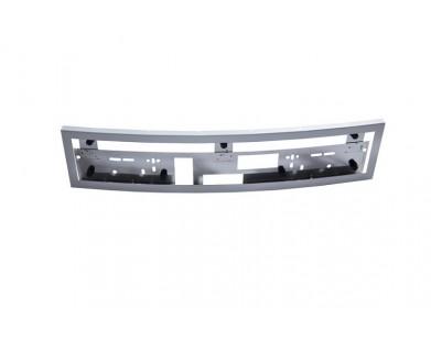 Рамка для номера из оцинкованной стали (перфорированная, округлая, белая)