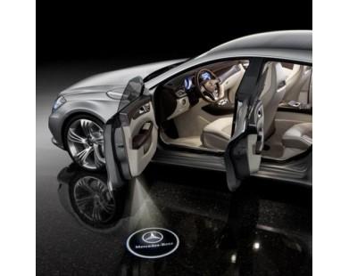 Подсветка дверей с логотипом Mercedes E-class (2 шт., в штатные места)