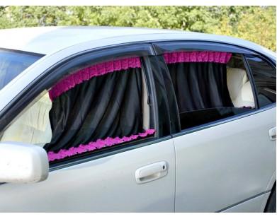 Автомобильные шторки Автолэнд черно-розовые (размер L)