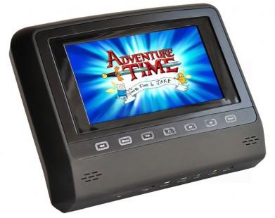 Навесной монитор в подголовник с DVD (7 дюймов) черного цвета (ERGO)
