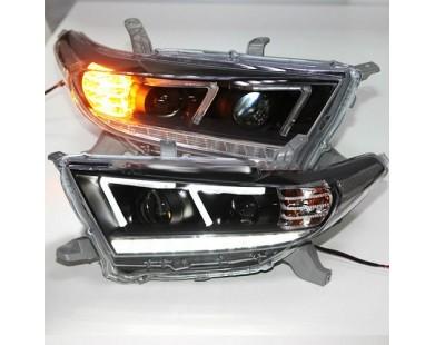 Передние фары DZG Type для Toyota Highlander 2011 - 2013 г.в.