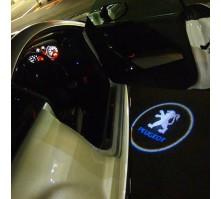 Подсветка дверей с логотипом Peugeot (2 шт., в штатные места)